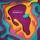 Abstract poster with paper cut shape