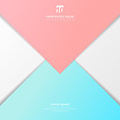 Abstract presentation template paper sheet overlap blue and pink pastel color background.