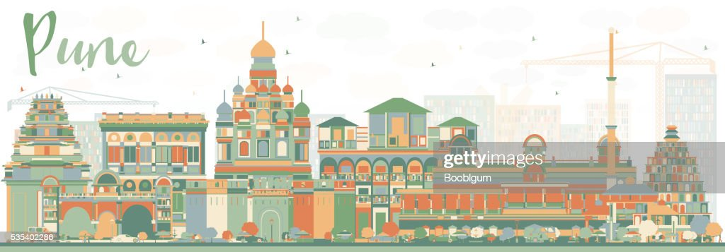 Abstract Pune Skyline with Color Buildings.