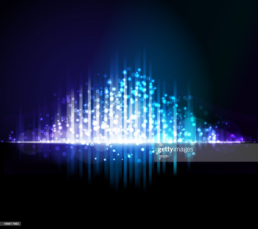 Abstract purple, white, & blue light beams background