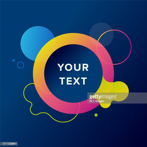 abstract radial design with fluid gradient graphics and text on dark background - information equipment stock illustrations