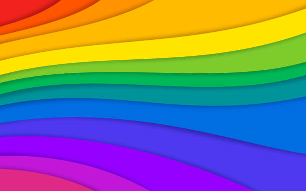 abstract rainbow colorful layered background - rainbow stock illustrations