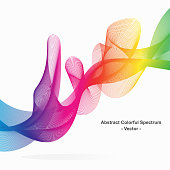 Abstract rainbow spectrum vector background. Graphic rainbow line using blend to create colorful swirl line.