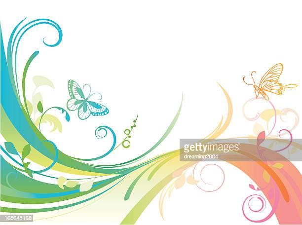 ilustrações, clipart, desenhos animados e ícones de abstrato arco-íris - lepidóptero