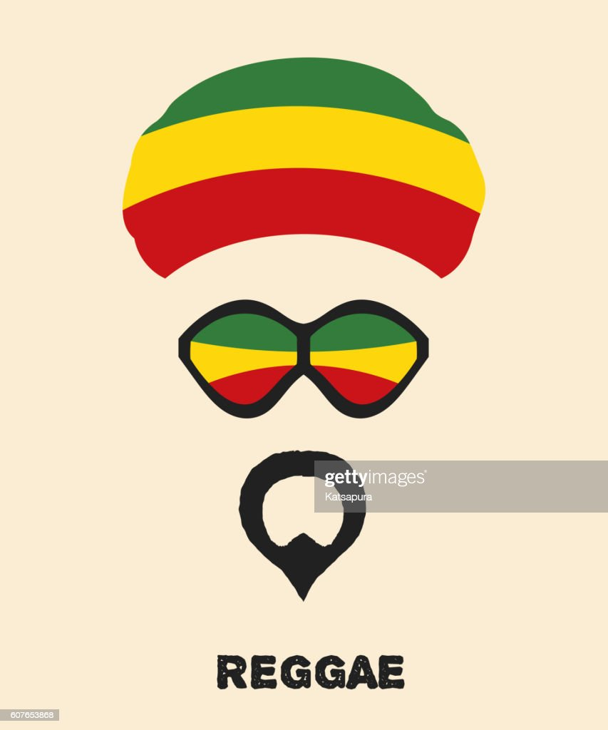 Abstract Rastaman man's face with a beard, glasses and beret