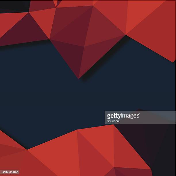 abstract red 3D triangle pattern with blue background
