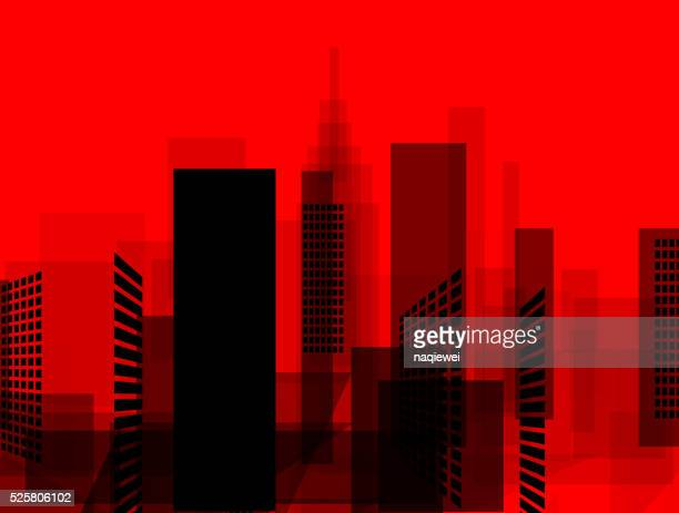 abstract red and black city pattern