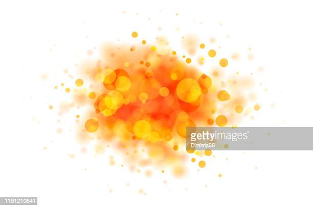 abstract red and yellow blob on white made from defocused circles - orange color stock illustrations