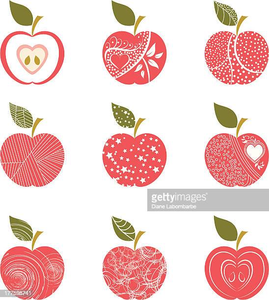 Abstract red apple patterns with white background