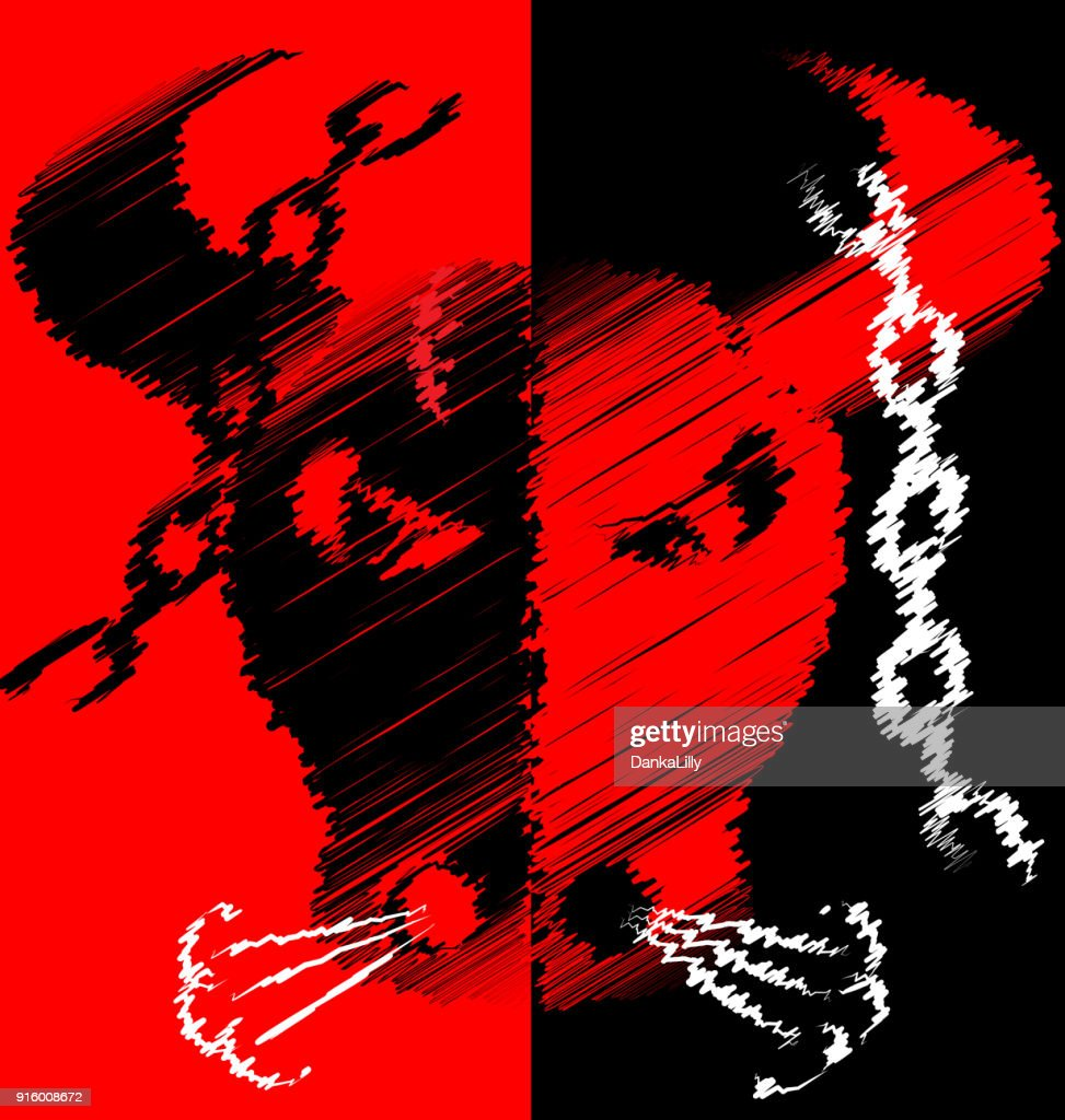 abstract red black image of bull