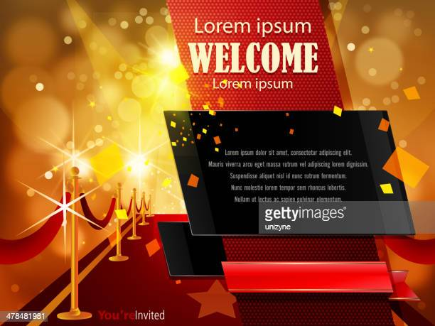 abstract red carpet background with copy space - red carpet event stock illustrations
