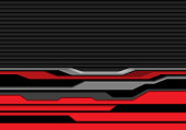 Abstract red gray line futuristic on black shutter pattern design modern technology background vector illustration.