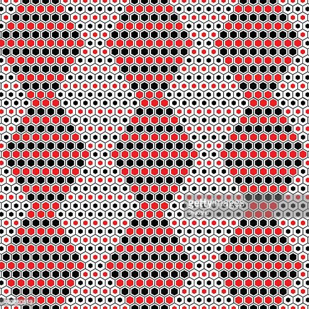 抽象的なレッドとブラックの六角形模様の背景