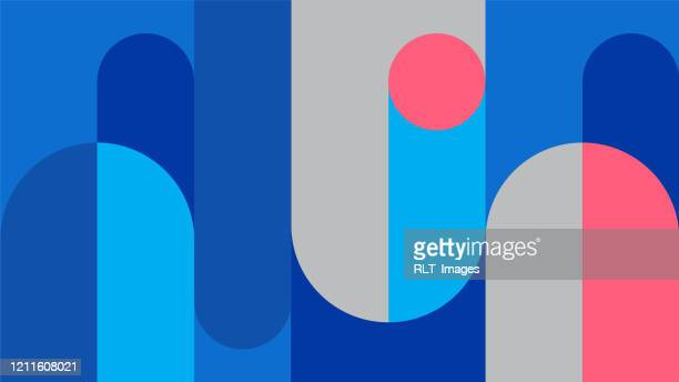 abstract retro midcentury geometric graphics - abstract stock illustrations