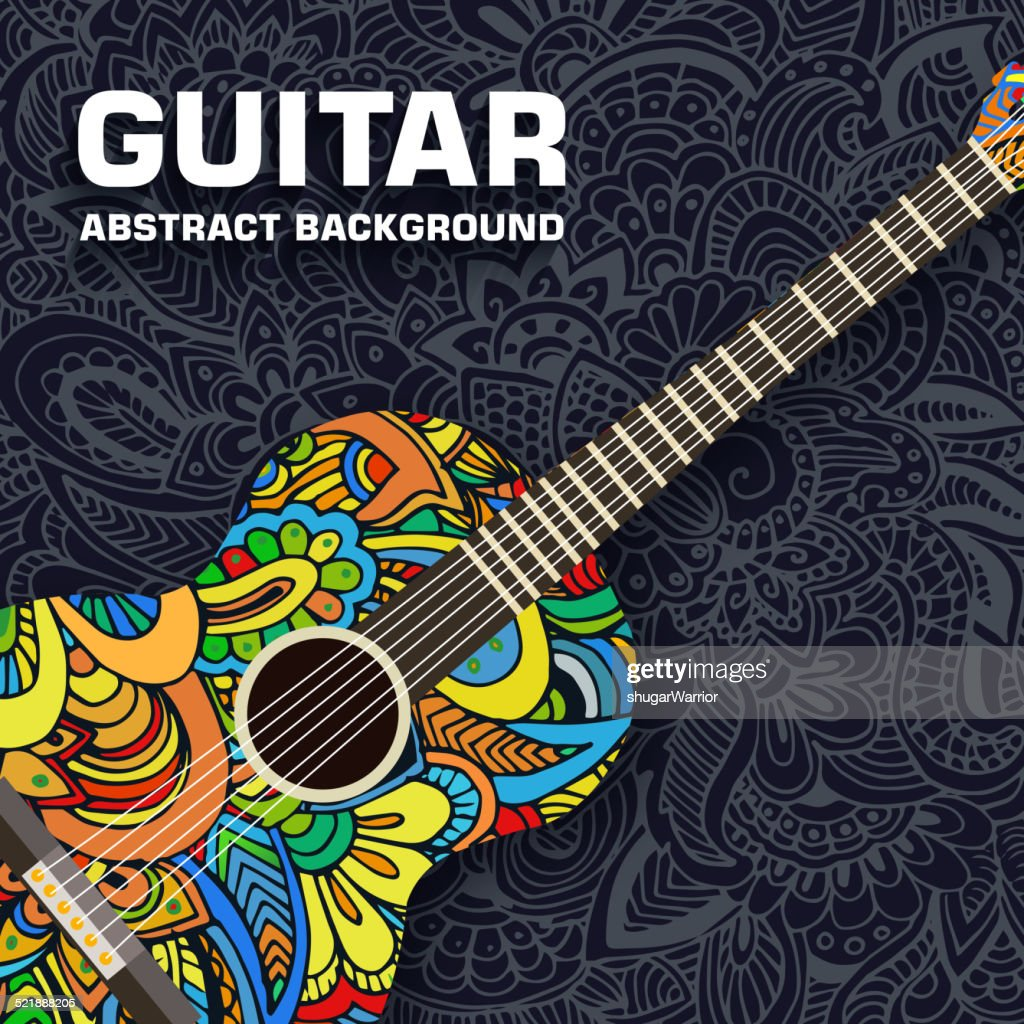 Abstract retro music guitar on the background of the ornament