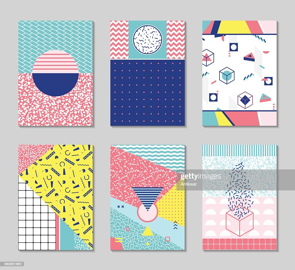 Abstract memphis style cards.
