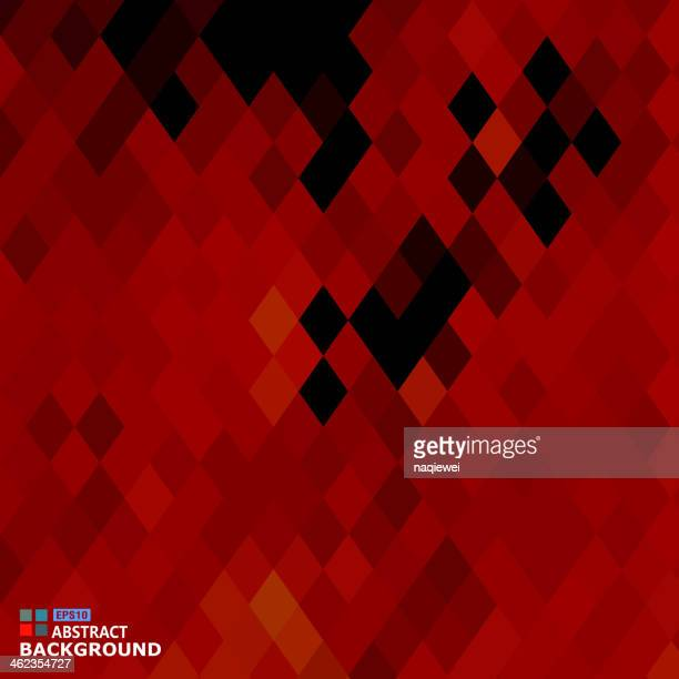 Abstract rhombus pattern in red and black