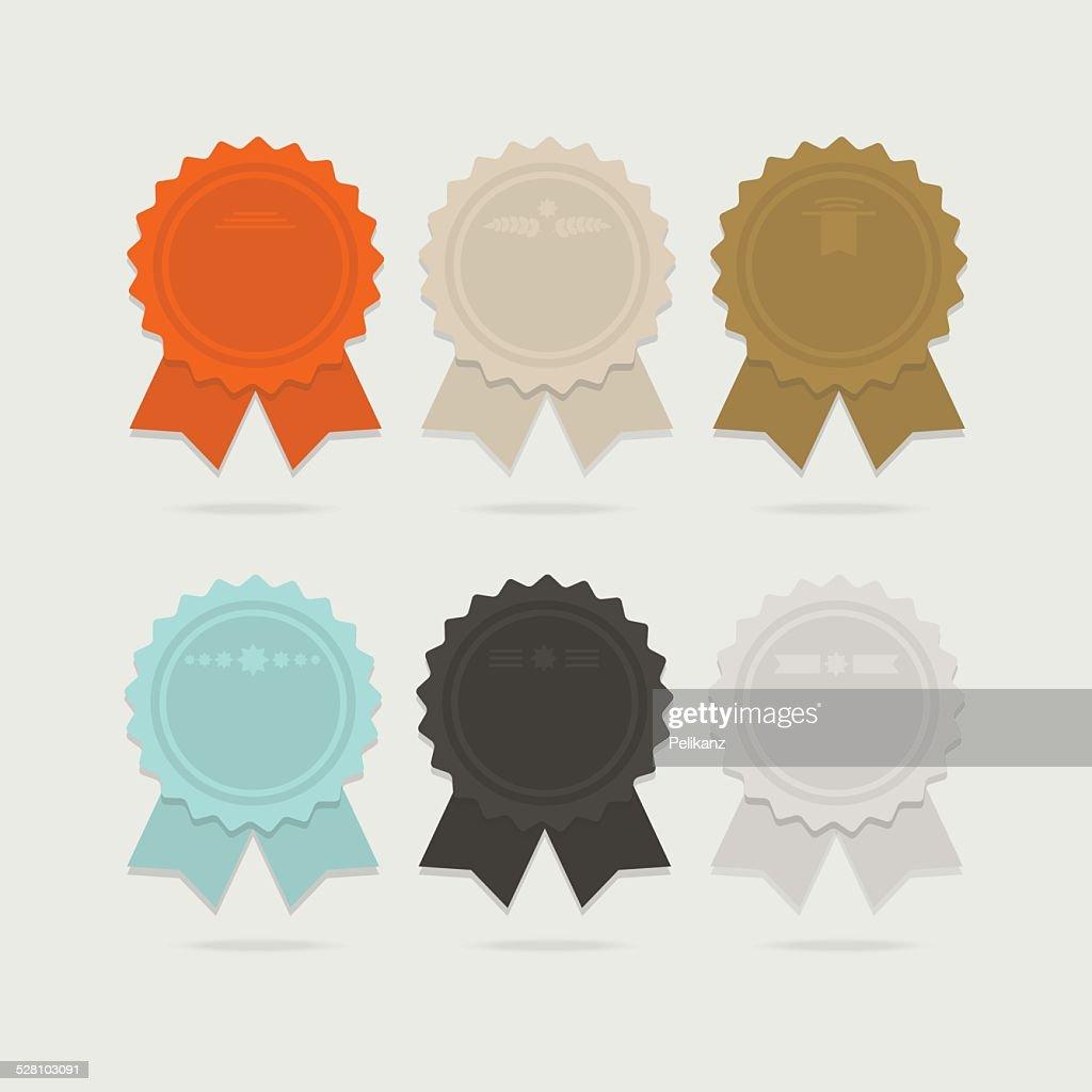 Abstract ribbon award bows set with shadows
