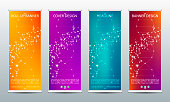 Abstract roll up banner for presentation and publication. Science, technology and business template. Molecule structure background, vector illustration