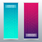Abstract roll up banner for presentation and publication. Scientific, technological and medical template. Molecule structure background, vector illustration