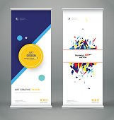 Abstract roll up. Creative round text frame font.