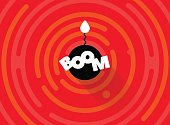 Abstract round comic BOOM background. Simple rounded line geometric shapes.