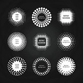Abstract round dotted banners - halftone labels set on chalkboard