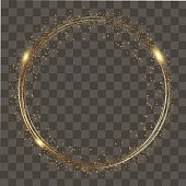 Abstract round glowing lights and gold sparkles on transparent background. Vector.