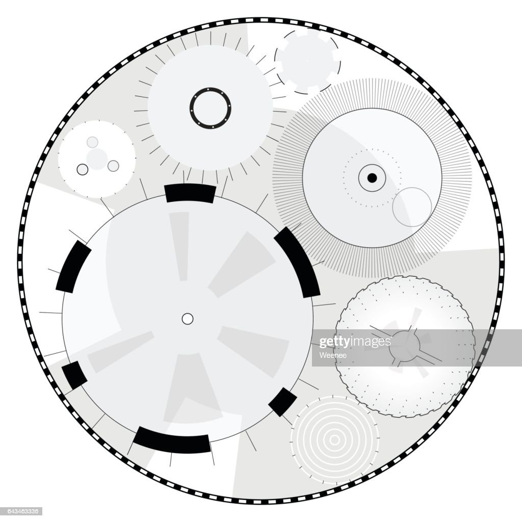 Abstract round high-tech mandala with circles. Space Time machine.