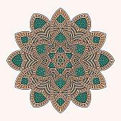 Abstract round ornament. Circle mandala pattern.