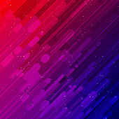 Abstract rounded lines dialognal Halftone Transition on technology red and blue laser rays light and lighting effects diagonally background.
