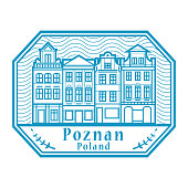 abstract rubber stamp with poznan old