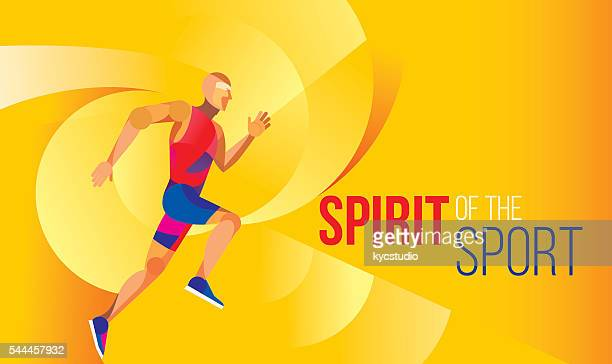 abstract runner poster - athlete stock illustrations