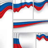 Abstract Russia Flag, Russian Colors (Vector Art)
