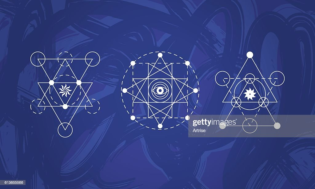 Abstract Sacred Geometry Symbols Set stock vector - Getty Images