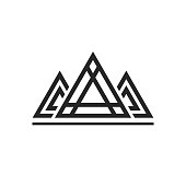 Abstract sacred geometry triangles logo sign isolated on white background