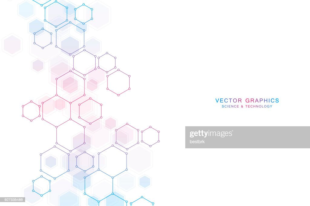 Abstract science background with hexagons and molecules