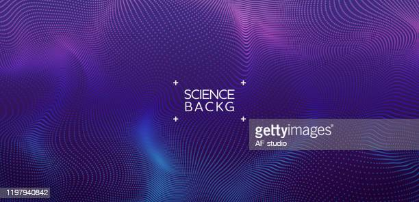 illustrazioni stock, clip art, cartoni animati e icone di tendenza di abstract & science technology background. network, particle illustration. 3d grid surface - particella