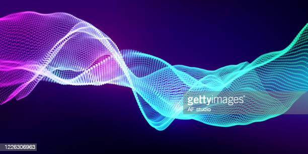 abstract & science technology background. network, particle illustration. 3d grid surface - af-studio stock illustrations
