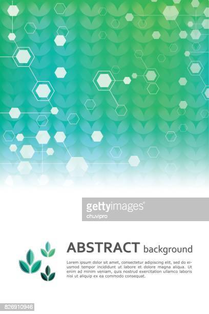 Abstract scientific and medicine geometric background template with green leaves