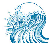 Abstract sea wave. Vector illustration of blue sea