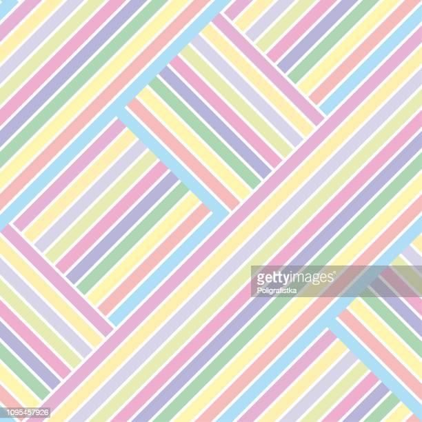 抽象的なシームレス背景パターン - 虹の交差する線の色のストリップ - 色とりどりの壁紙 - ベクター イラスト - 織物点のイラスト素材/クリップアート素材/マンガ素材/アイコン素材
