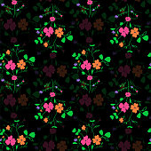 Abstract seamless floral fabric pattern
