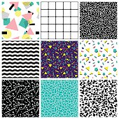 Abstract seamless geometric patterns. 80's-90's styles.