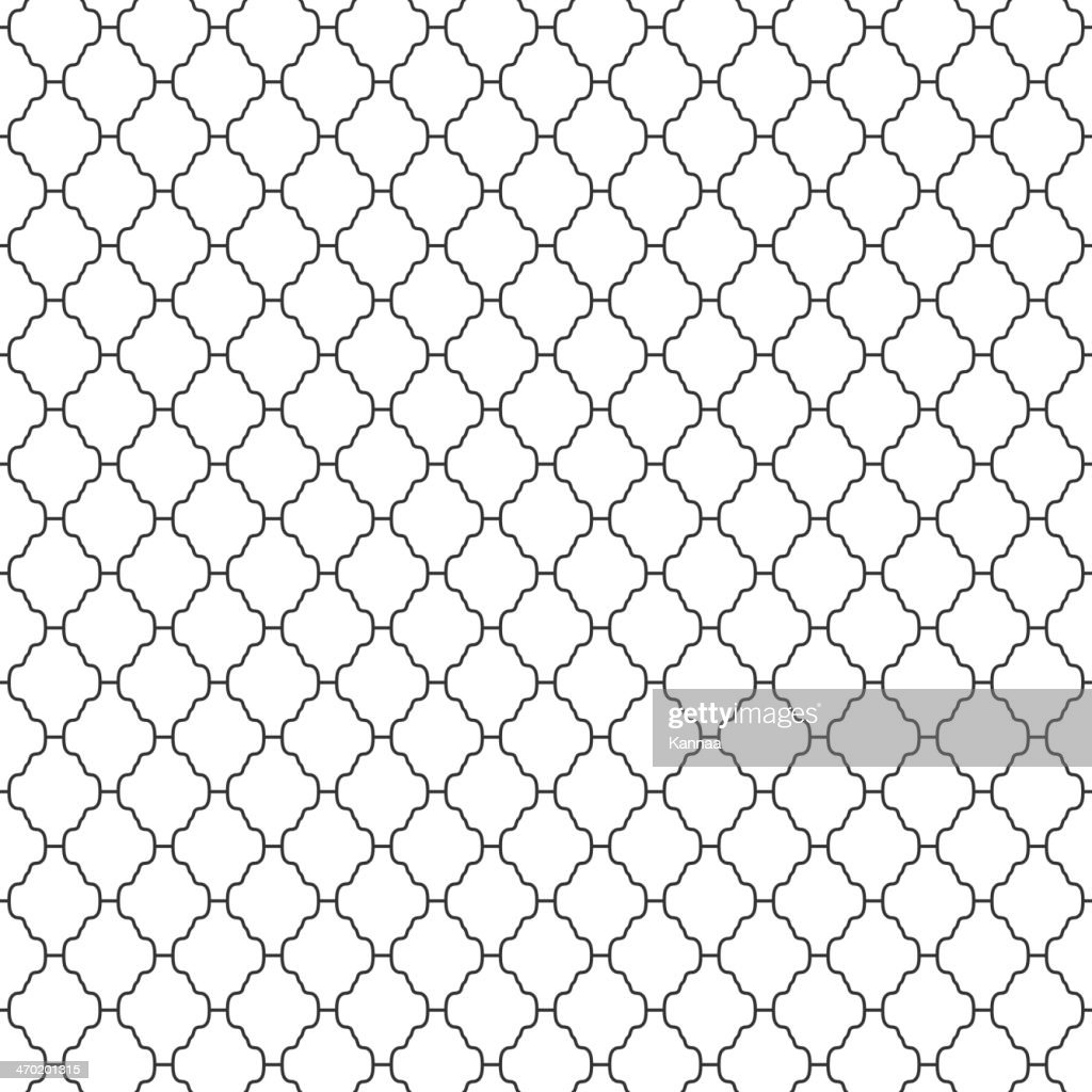 Abstract seamless ornamental lines monochrome pattern
