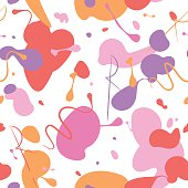 Abstract seamless pattern background made of colorful pink, purple, red and orange blots of nail polish.