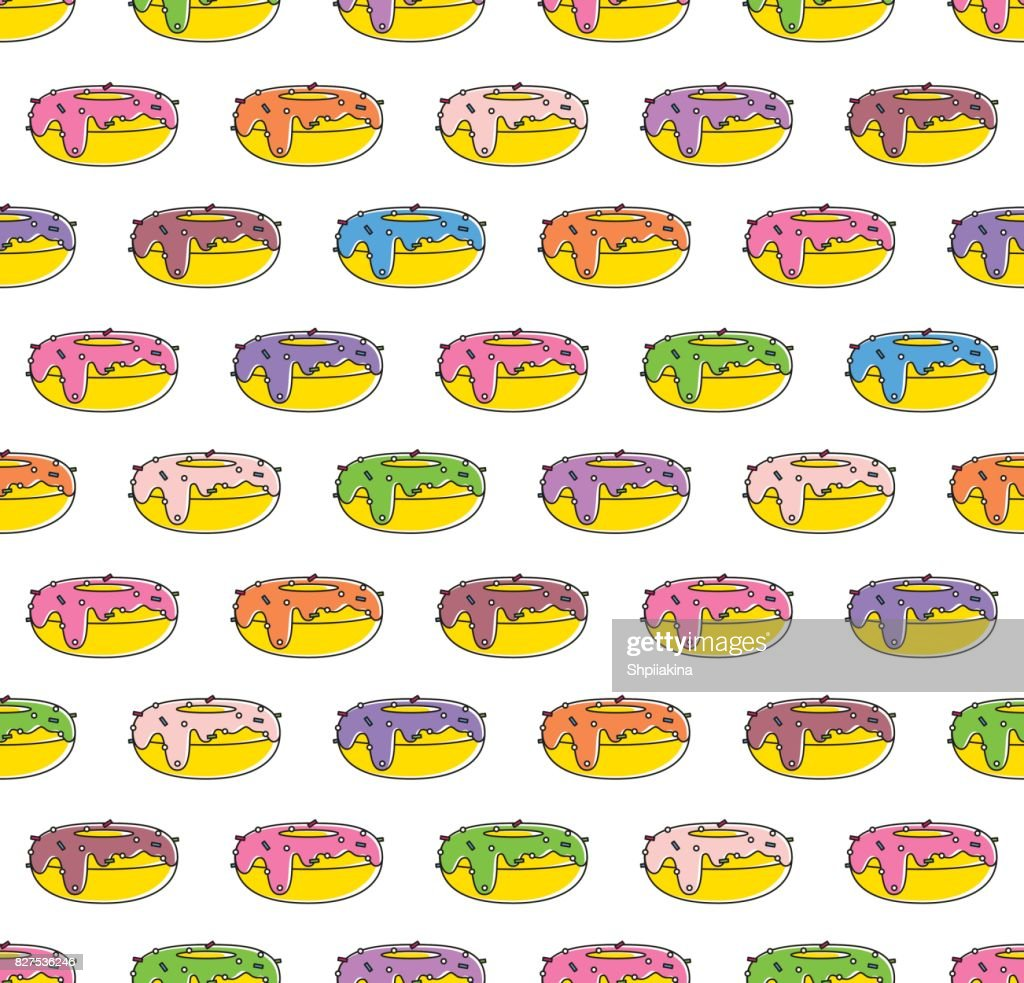 Abstract seamless pattern background made of flat outlined donuts.