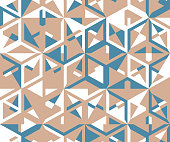 Abstract seamless pattern from a variety of angular shapes on a white background.