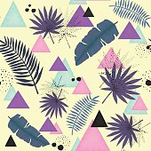 Abstract Seamless Pattern of Colorful Triangles, Palm Leaves and Black Dots