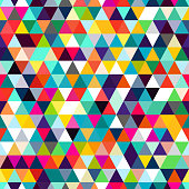Abstract seamless pattern of triangles. Mosaic of geometric forms.